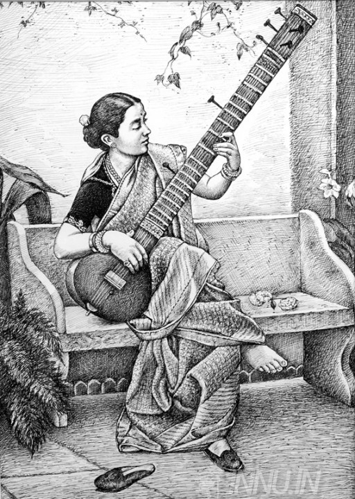Buy Fine art painting A Lady Playing Sitar by Artist Unknown Artist