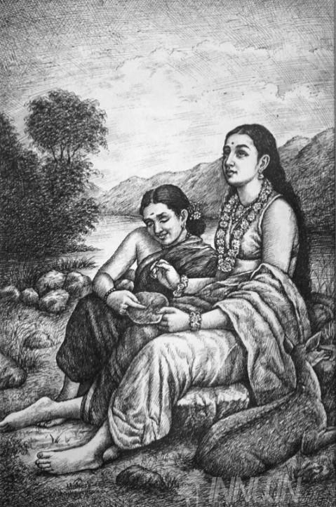 Buy Fine art painting Shakuntala  by Artist Unknown Artist
