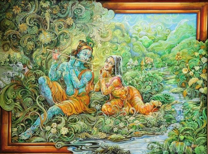 Buy Fine art painting Nature's Krishna & Radha 1 by Artist Unknown Artist