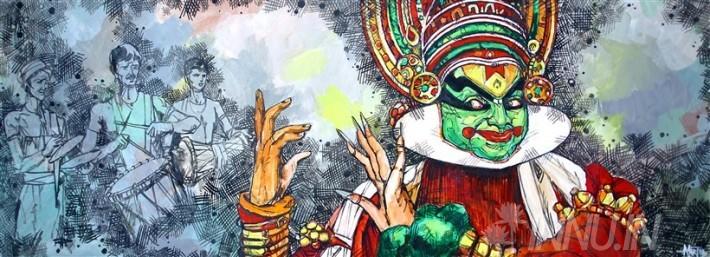 Buy Fine art painting Kathakali Performance  by Artist Unknown Artist