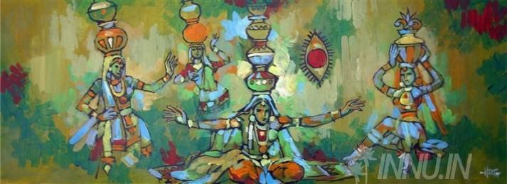 Buy Fine art painting Bhavai Dance  by Artist Unknown Artist