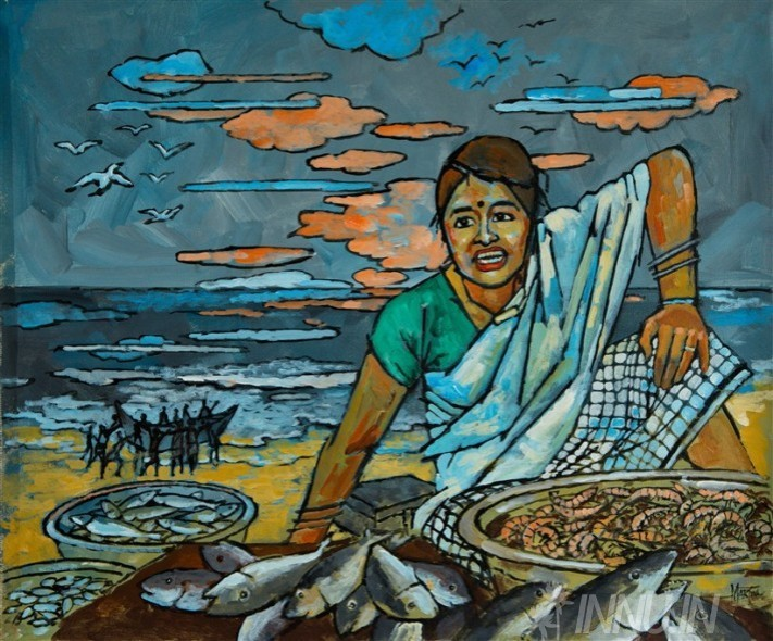 Buy Fine art painting The Fishmonger  by Artist Unknown Artist