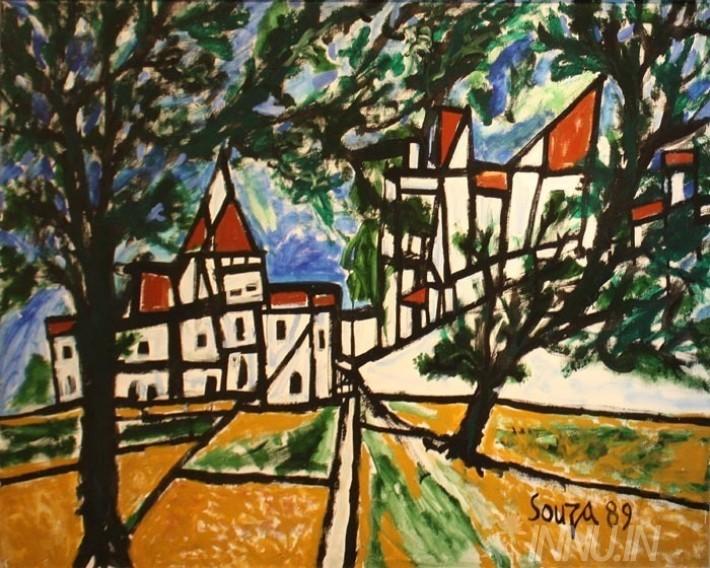 Buy Fine art painting Goa Landscape - 1989 by Artist Francis Newton Souza