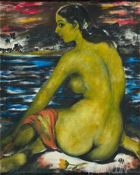 Buy Fine art painting Nude Lady by Artist Krishnaji Howlaji Ara