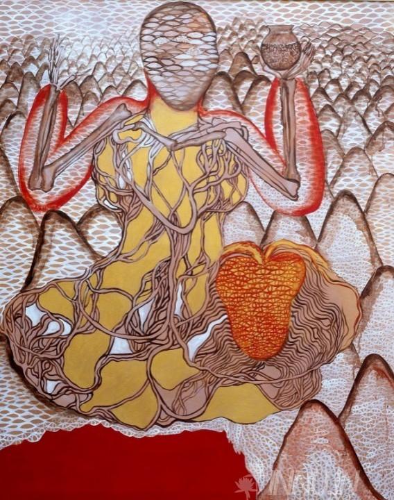 Buy Fine art painting Alterbody series5 by Artist Sajitha R Shankhar