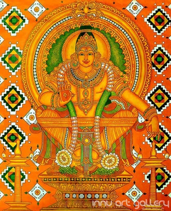Buy Fine art painting Lord Ayyappan Dharma Sastha Mural by Artist Unknown Artist
