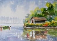 Fine art  - Life Along River 1 by ArtistMopasang Valath