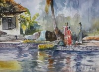 Fine art  - Life Along River 2 by Artist Mopasang Valath