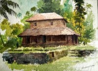 Fine art  - Village Home by Artist Shankar Babu