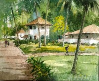 Fine art  - Kerala Holiday Resort by Artist Shankar Babu