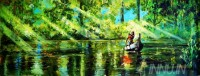 Fine art  - Kerala Lady rowing in backwaters by Artist Martin