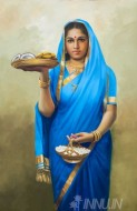 Fine art  - South Indian lady with fruits in Blue saree