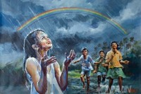 Fine art  - Children playing in rain, with rainbow by Artist