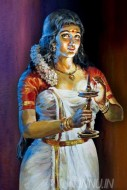 Fine art  - Kerala lady with nilavilakku (lamp) by Artist