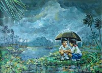 Fine art  - Kids playing in rain by Artist