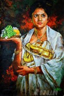 Fine art  - Kerala lady in her traditional kasavu saree by Artist