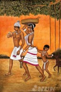 Fine art  - Village family with kid - Mural by Artist