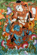 Fine art  - Krishnan and Radha with Thamburu