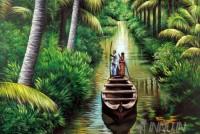 Fine art  - Men sailing a Kerala rowboat through narrow streamby Artist