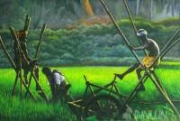 Fine art  - Chakram chavittal (Farmer Treading Water wheel)by Artist