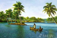 Fine art  - Fishing in a rowboat by Artist
