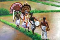 Fine art  - Walking theyyam in paddy field (landscape)by Artist