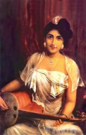 Fine art  - Lady Playing Veena by Artist Raja Ravi Varma