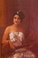 Fine art  - Lady with Veenaby ArtistRaja Ravi Varma