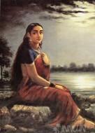 Fine art  - Lady in Moonlight by ArtistRaja Ravi Varma