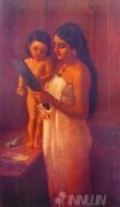 Fine art  - Lady with Mirror by ArtistRaja Ravi Varma