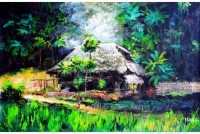 Fine art  - Village thatched hut by Artist Martin