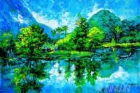 Fine art  - Hillside village by ArtistMartin