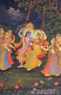 Fine art  - Krishnan and Radha Swinging