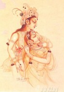 Fine art  - Radha and Krishna 4 by Artist BG Sharma