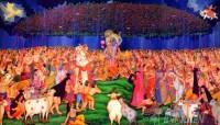 Fine art  - Lord Krishnan lifting Mount Govardhan