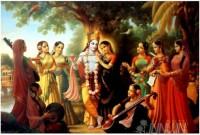 Fine art  - Krishna and Radha with Gopis