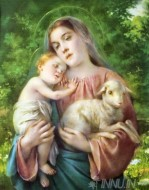 Fine art  - Mother Mary with child Jesus and a sheep 2 by Artist