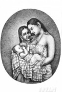 Fine art  - Mother and Child  by Artist Mahesh