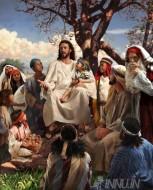 Fine art  - Sermon on the mount - Jesus teachingby Artist