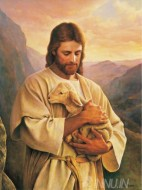 Fine art  - Jesus with a goat by Artist