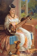 Fine art  - Lady with Veena 2 by ArtistRaja Ravi Varma