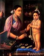 Fine art  - Yashoda Adoring Krishna by ArtistRaja Ravi Varma