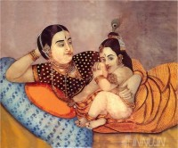 Fine art  - Yashoda feeding Krishna by ArtistRaja Ravi Varma