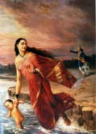 Fine art  - King Shantanu and Ganga by Artist Raja Ravi Varma