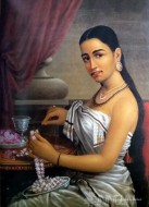 Fine art  - Lady making flower garland by Artist Raja Ravi Varma