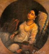 Fine art  - Lady Resting on the Pillow by Artist Raja Ravi Varma