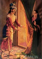 Fine art  - Draupadi being harassed by Kirata  by Artist Raja Ravi Varma