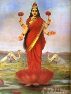 Fine art  - Goddess Lakshmi  by ArtistRaja Ravi Varma