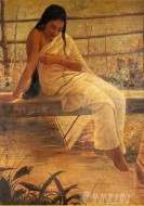 Fine art  - Lady on the Bridge by Artist Raja Ravi Varma