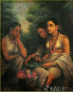 Fine art  - Shakuntala Writing Letter to Dushyantaby ArtistRaja Ravi Varma